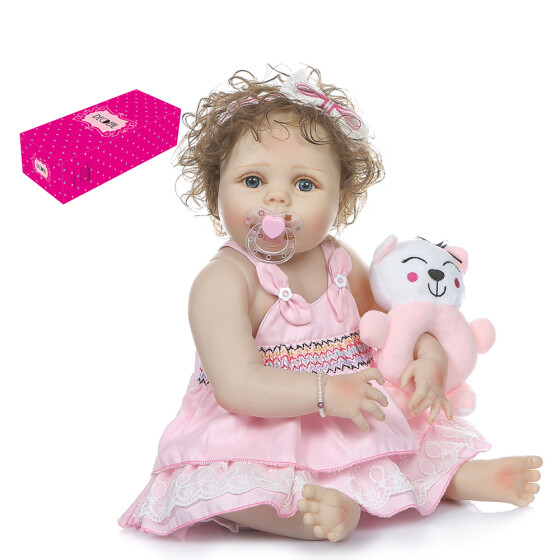 "22/"" Full Silicone Vinyl Body Reborn Baby Girl Newborn Princess Toddler Toy Gift"