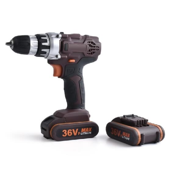 36V Double Speed Cordless Rechargeable Electric Drill Lithium Battery Powered Electric Hand Drill with 2pcs Batteries