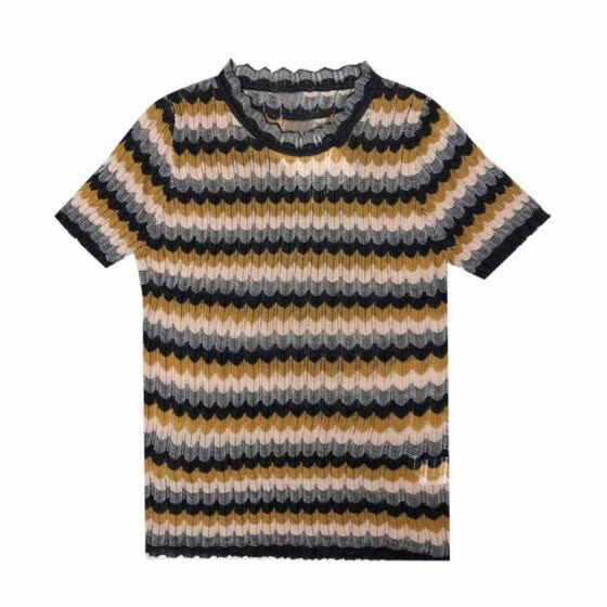 Breathable Ice Silk Woman T Shirts Summer Autumn Slim Striped T-Shirt Knit Short-Sleeved T-Shirts Yellow Tee Tops
