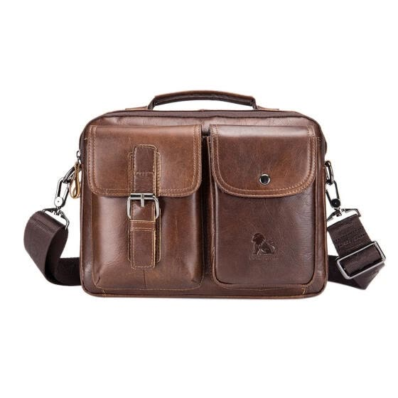 Vintage Genuine Leather Business Handbags Men Casual Shoulder Crossbody Bag
