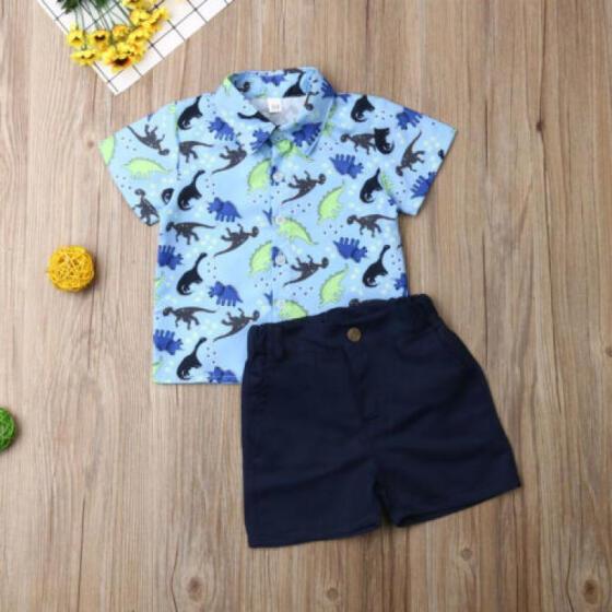 US Infant Toddler Baby Boy Tops T-shirt Short Pants 2Pcs Outfit Set Clothes 0-3Y