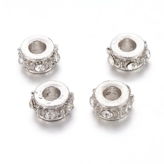 Alloy Rhinestone European Beads, Grade A, Large Hole Column Beads, Platinum, Crystal, 13x7mm, Hole: 5mm