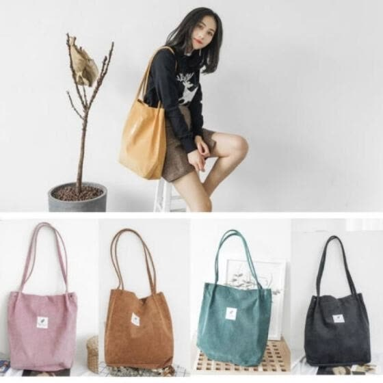 Women Fashion School Bags Corduroy magnetic button Shoulder Canvas Tote Bags