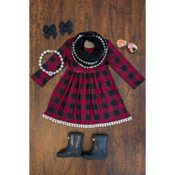 Toddler Baby Girls Kids Plaid Party Pageant Princess Xmas Dress Outfits Skirt UK