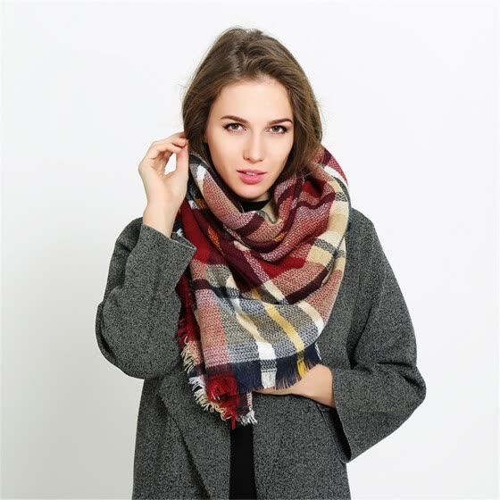 db4e355f5 Shop Coloured plaid like cashmere warm scarf Online from Best Men's ...