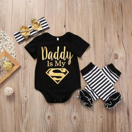 Newborn Infant Baby Girl Clothes Romper+Leg Warmers+Bow Headband 3PCS Outfit Set