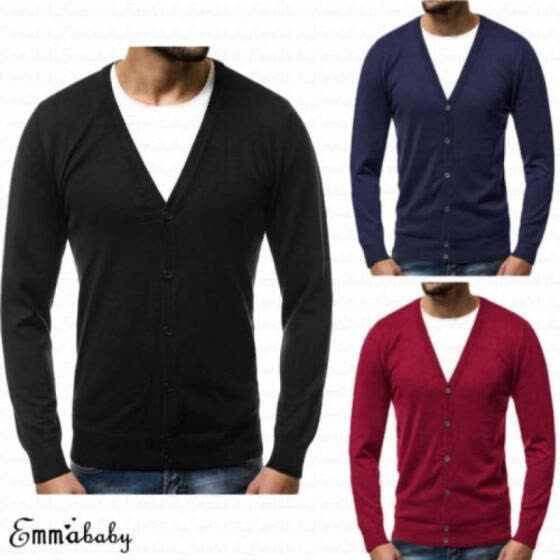 New Fashion Men Slim Fit V-neck Knitwear Pullover Cardigan Sweater Tops