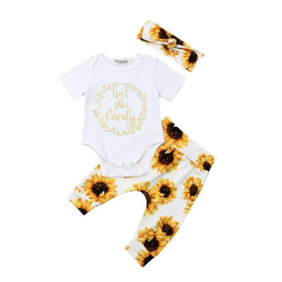 US 3Pcs Baby Girl/'s Romper Tops Bodysuit Headband Outfits Clothes Set Pants