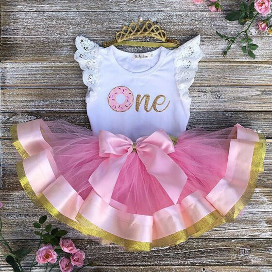 Toddler Kids Baby Girls 2Pcs T-shirt Tops Tulle Tutu Skirt Dress Outfits Sets