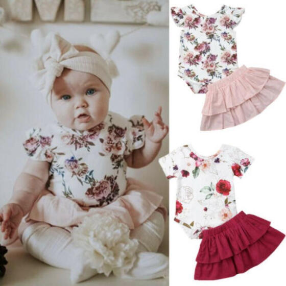 UK Stock 2PCS Summer Kids Baby Girl Dress Skirt Floral Party Dresses Clothes New