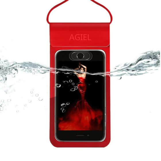 Companion line mobile phone waterproof bag diving mobile phone case large touch screen universal swimming waterproof hanging neck dust bag Apple Huawei BL9165 red