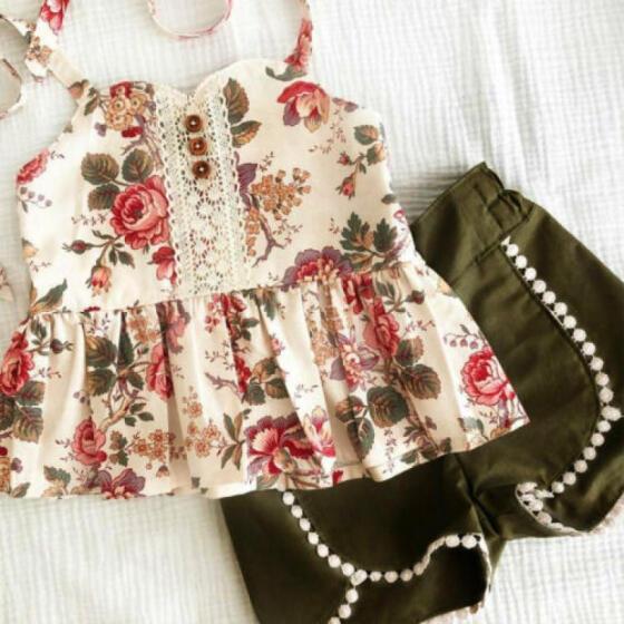 US 2Pcs Baby Kids Girls Summer Outfits Floral Shirt Tops+Short Pants Clothes Set