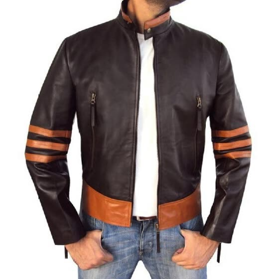 New Men 's PU Leather Jacket Personality Motorcycle Motorbike Jacket Large Size Fashion Men' s Clothing for Male Stripe Coat
