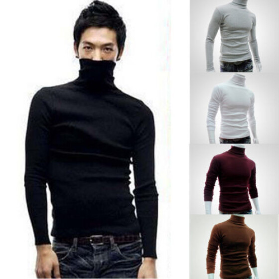 US Stock Mens Long Sleeve Turtle Polo Neck T Shirt Top High Roll Neck Top Jumper