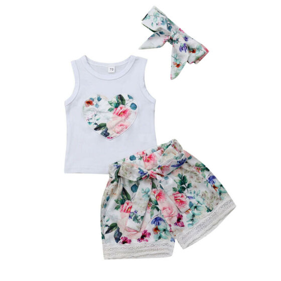 Newborn Baby Girl Clothes Sleeveless Flower Lace Dress Tops Shorts Pant Outfits