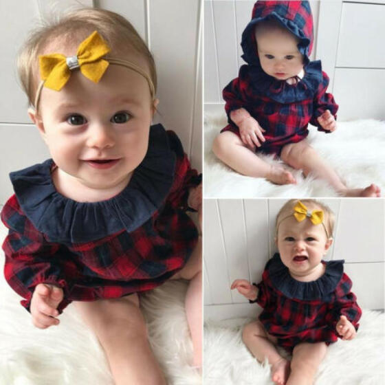 Toddler Newborn Baby Girls Ruffled Romper Bodysuit Plaid Jumpsuit Dress Outfits