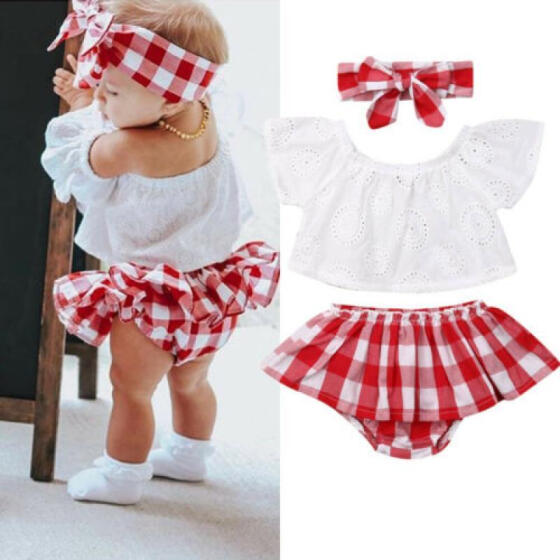 US Toddler Baby Girls Summer Clothes Ruffle Tops Plaid Shorts 3PCS Outfits Set