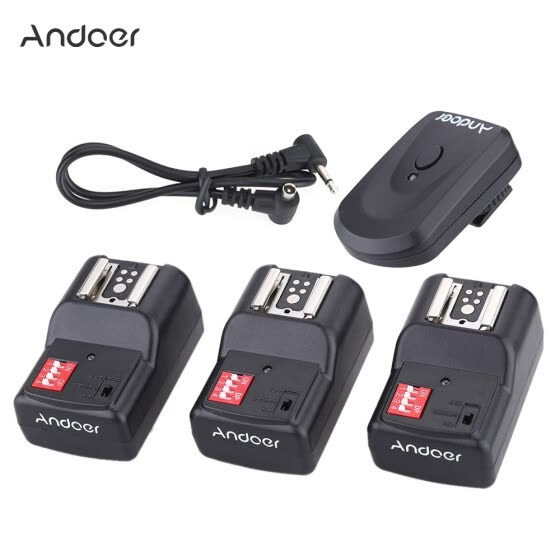 Andoer 16 Channel Wireless Remote Flash Trigger Set 1 Transmitter + 3 Receivers + 1 Sync Cord for Canon Nikon Pentax Olympus Sigma