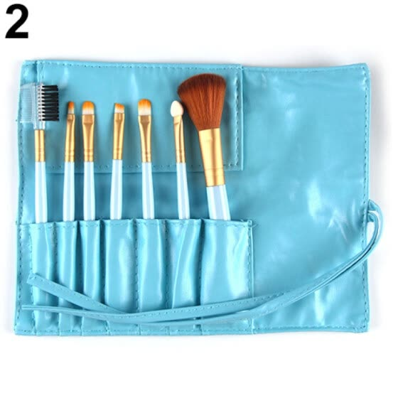 7Pcs Makeup Brushes Set Powder Foundation Brush Cosmetic Kit with Carry Pouch