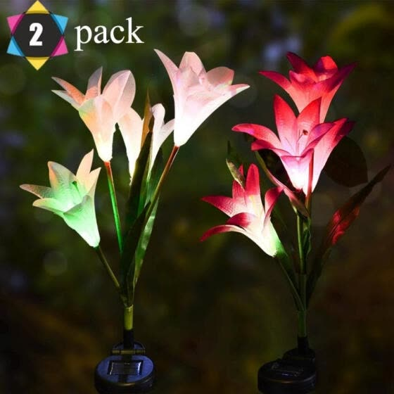 2Pcs Outdoor Solar Garden Stake Lights, Lily Flower Multi-color Changing LED Decorative Light For Garden Patio Backyard
