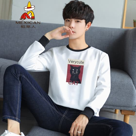 Scarecrow (MEXICAN) Long Sleeve T-Shirt Male Korean Fashion Sweater Men Casual Slim Trend Print Round Collar Comfort Joker Baseline Mens Tops DCY85 White M