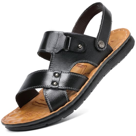 Poitulas Men's first layer cowhide hand stitching sandals two users outside casual beach shoes men 7188 black 40