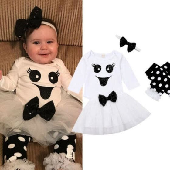UK Newborn Baby Girl 4pcs Halloween Fancy Clothes Tops Romper Tutu Dress Outfits