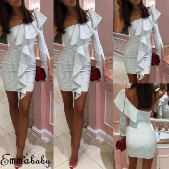 UK Womens Bodycon One Shoulder Dress Ladies Party Evening Mini Dress Size 6-14