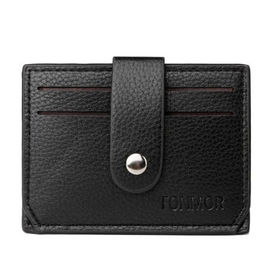 Slim Mini Wallet Solid Color Card Holder Clutch Men PU Leather Coin Purse