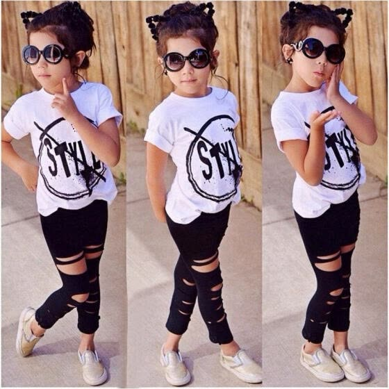 2016 Kids Baby Girls Tops T-shirt Ripped Pants Outfits Sets Clothes Summer Fashion 2-7Y