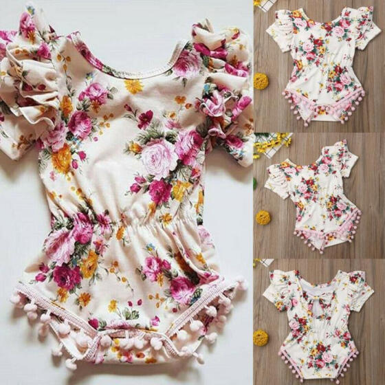 Newborn Infant Baby Girls Fly Sleeve Romper Bodysuit Jumpsuit Clothes Outfits