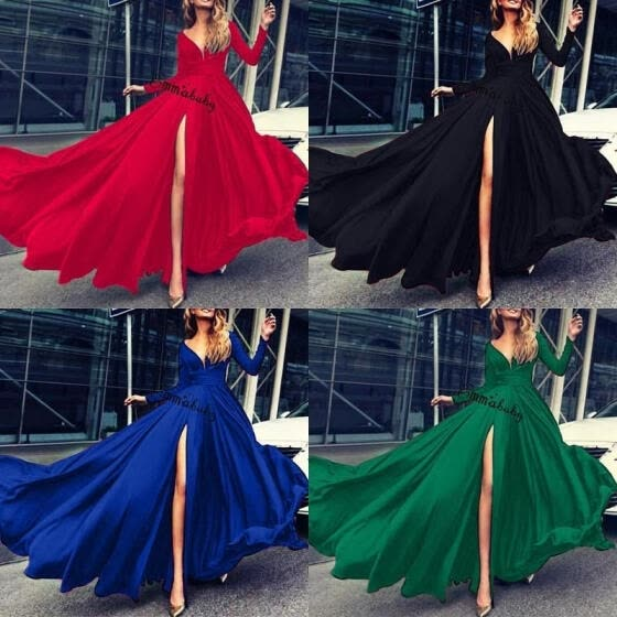 Women Lady Fashion Elegant V Neck Long Sleeve Formal Party Cocktail Maxi Long Dresses