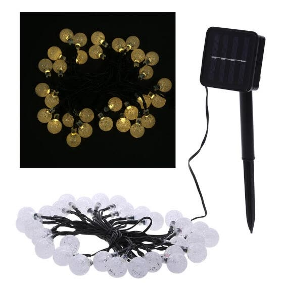 Solar light string 30LED bubble beads decorative lights outdoor waterproof