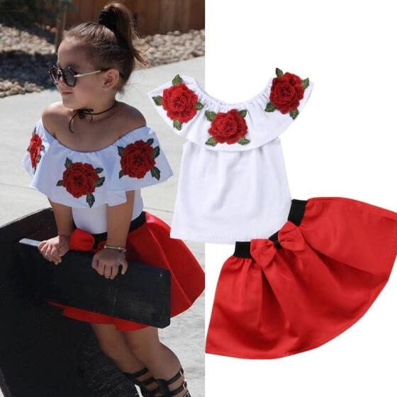 569566a78 2PCS Toddler Kids Baby Girl Off Shoulder Tops + Tutu Skirt Dress Outfits  Clothes Set