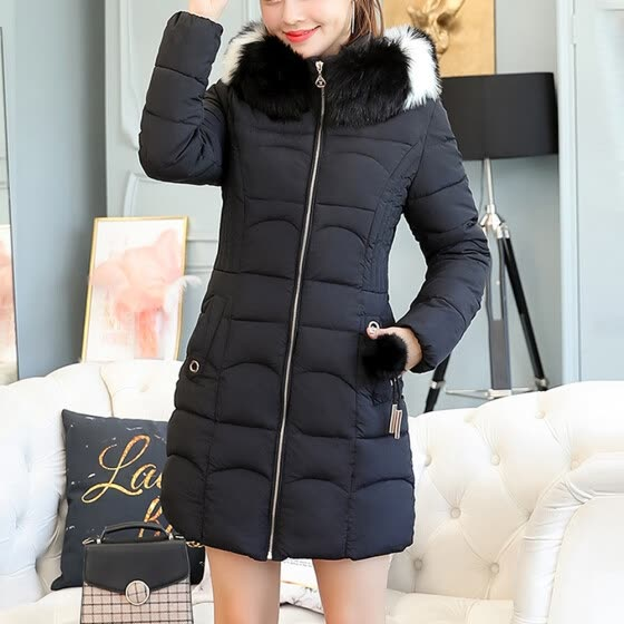 Roseonmyhand Women Hooded Solid Outwear Warm Long Thick Fur Cotton Parka Slim Jacket Coat