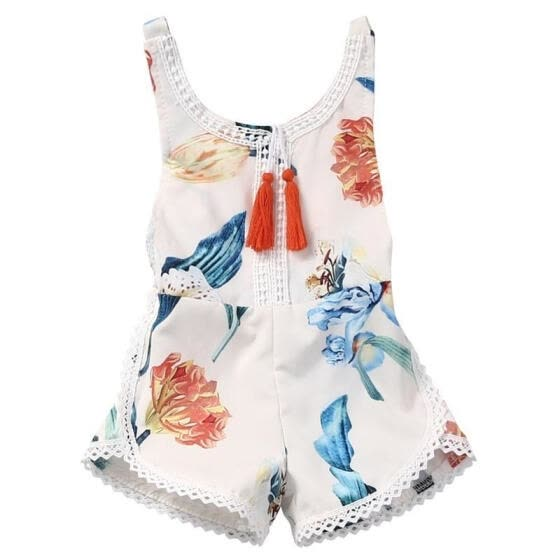 Infant Baby Girls One Piece Romper Lace Floral Bodysuit Tutu Dress Backless Jumpsuit Summer Outfits
