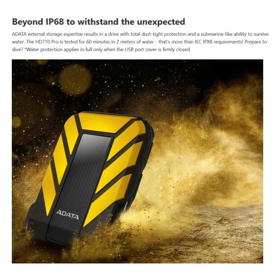 ADATA HD710 Pro External Hard Drive Portable HDD 5TB USB3.1 Anti-shock Data Encryption for Travel(Yellow)