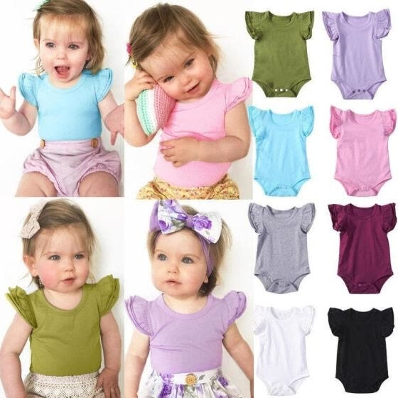 Infant Baby Girls Boy Cotton Romper Bodysuit Short Sleeve Outfits Jumpsuit Clothes 0-24M