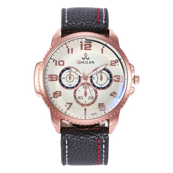 New men's sports military large dial watch three-eye digital belt quartz watch men's section