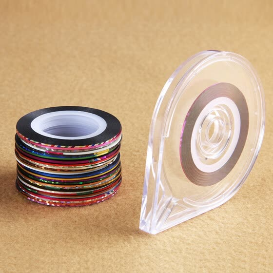 30 Rolls Mixed Colors Nail-Striping Art Tape Line Sticker DIY Decal with 1Pc Free Tape Case Holder Tool