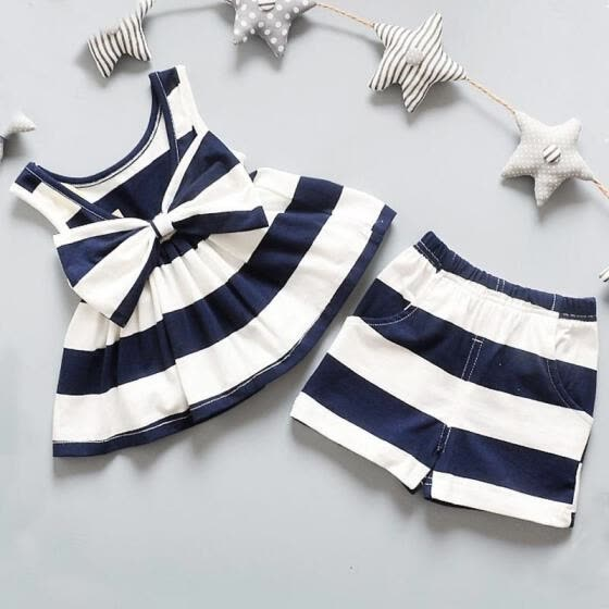 Princess Girls Red/Black/Navy-Blue Baby Outfits Summer Sleeveless Party Dress +Shorts Pants Set