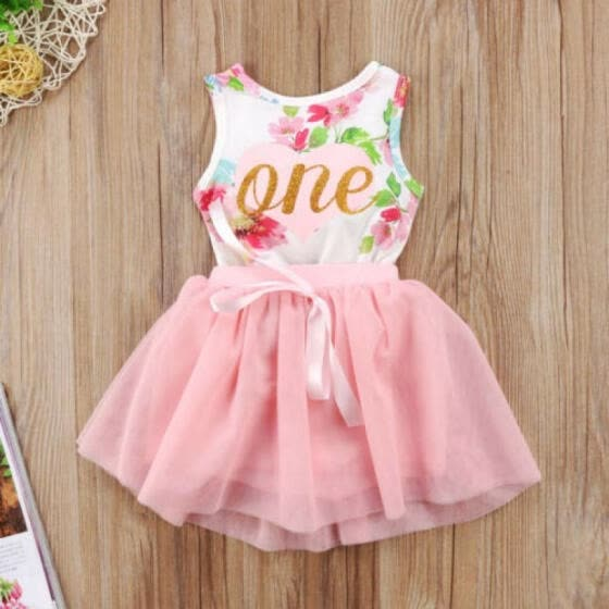 Baby Girl 1st Birthday Party Dress Floral Romper Tutu Skirt Outfit Clothes 12M