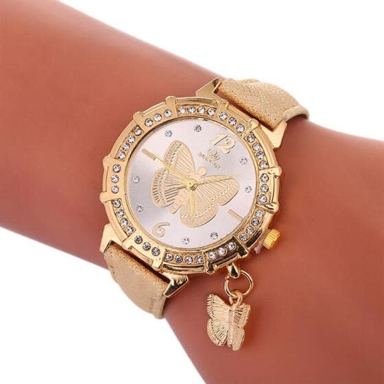 Women Butterfly Watch Fashion Leather Strap Analog Quartz Watch Ladies Luxury Dress Watches For Women Jewelry Gift