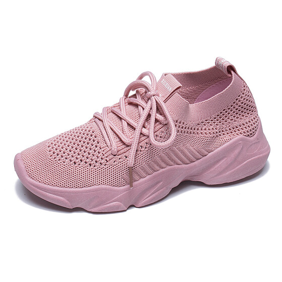 Peize Fashion Women Flying Woven Running Mesh Lace-Up Casual Breathable Ladies Sports Shoes