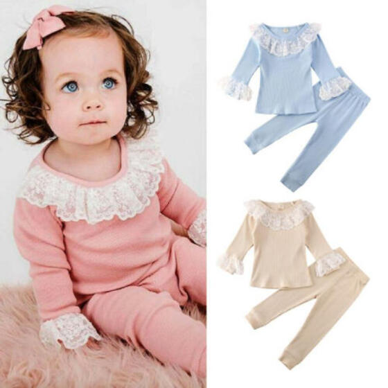 Kids Toddler Baby Girls Lace Long Flutter Sleeve Casual Tee Top Blouse Clothes