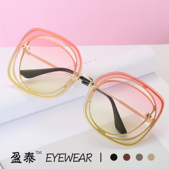 Personality sunglasses female European style style square hollow sunglasses fashion big face sunglasses