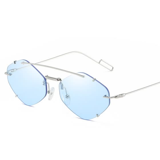 YOOSKE Rimless Sunglasses Women Men Luxury Brand Small Polygon Sun Glasses Shades Ladies Alloy Steampunk Eyewear UV400