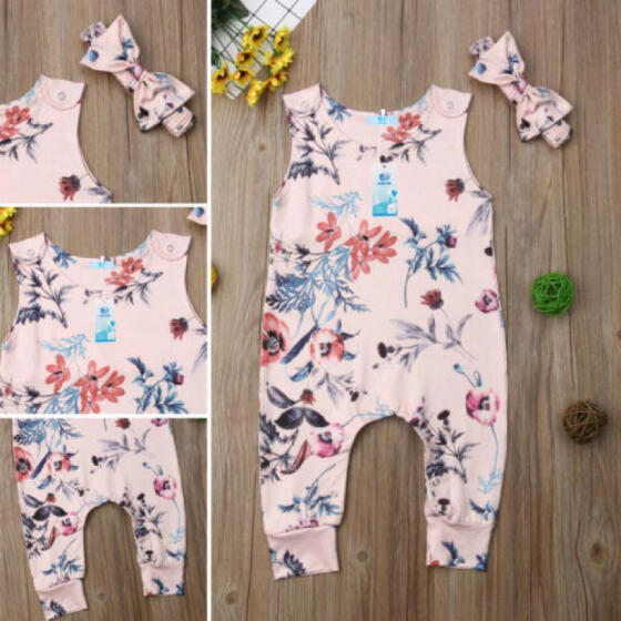 UK Casual Newborn Baby Girl Romper Floral Jumpsuit Outfit Sunsuit Summer Clothes