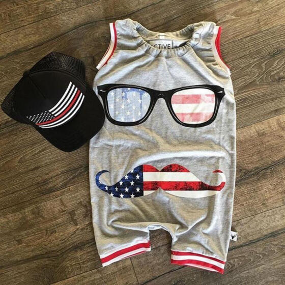 Newborn Toddler Baby Boy Kids US Flag Romper Jumpsuit Glasses Clothes Outfits