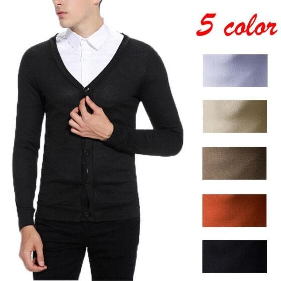 Men's Pure Color Cardigan V-neck Slim Sweater Coat Casual Pullover Knitting Warm